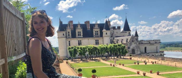An honors student visiting a French mansion.