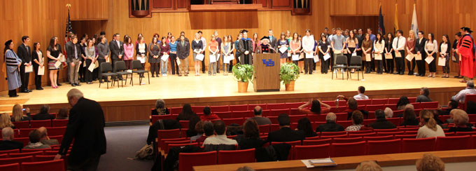 Students receiving awards.